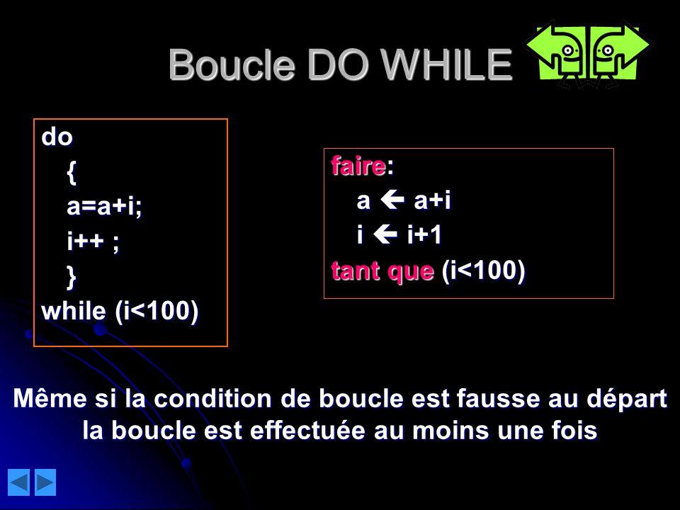 Boucle DO WHILE do { faire: a=a+i; a  a+i i++ ; i  i+1 }