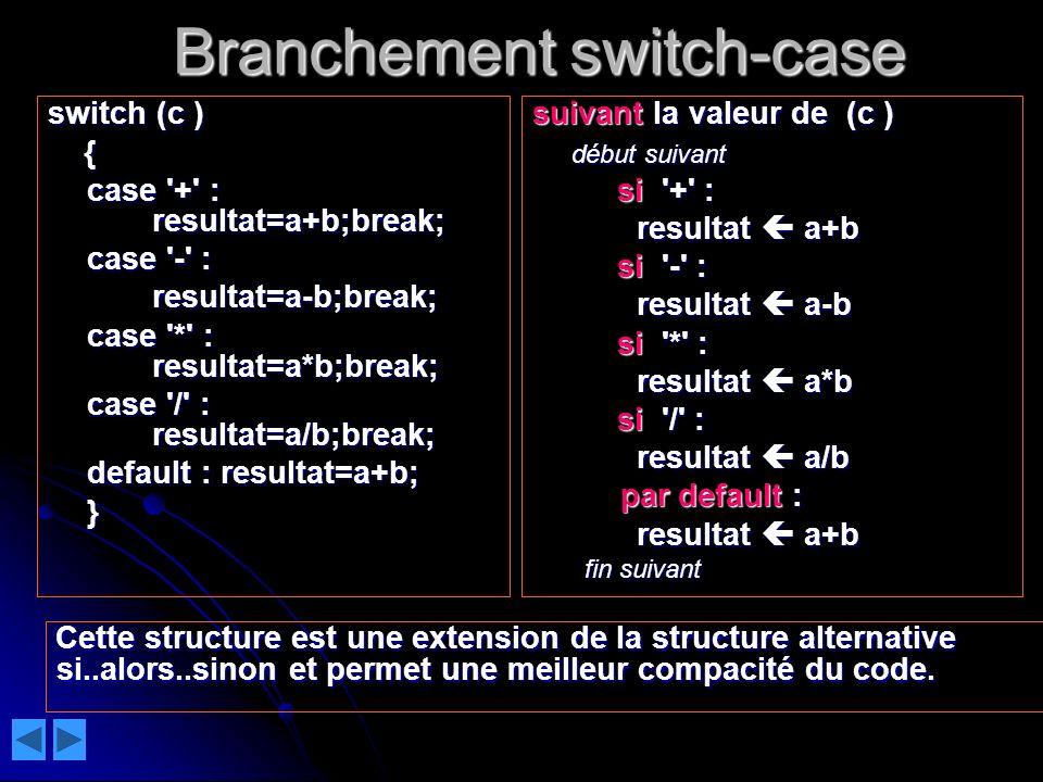 Branchement switch-case