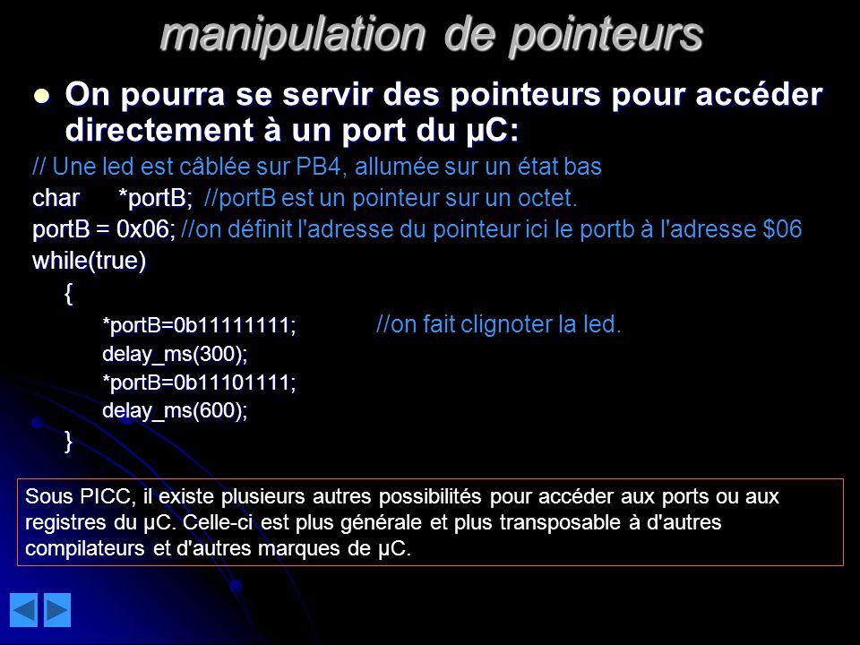 manipulation de pointeurs
