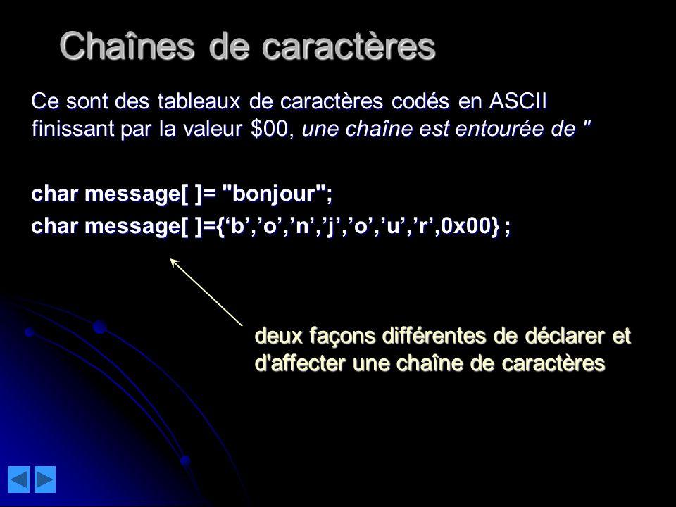 Chaînes de caractères Ce sont des tableaux de caractères codés en ASCII finissant par la valeur $00, une chaîne est entourée de
