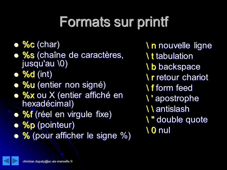 Formats sur printf \ n nouvelle ligne %c (char)
