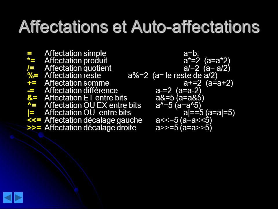 Affectations et Auto-affectations