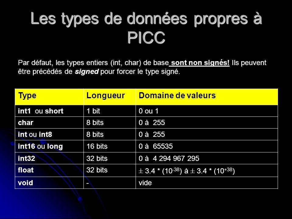 Les types de données propres à PICC