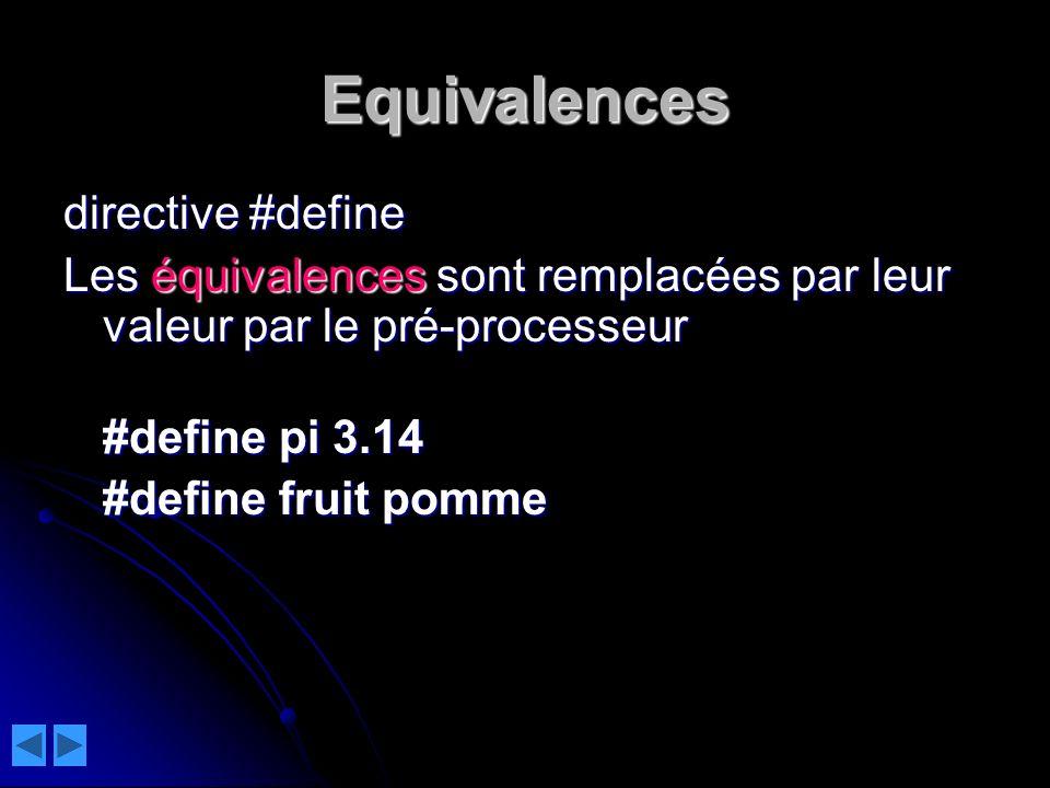 Equivalences directive #define