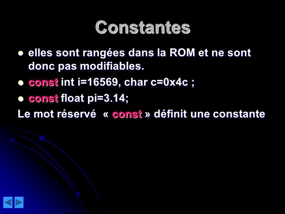 Constantes elles sont rangées dans la ROM et ne sont donc pas modifiables. const int i=16569, char c=0x4c ;