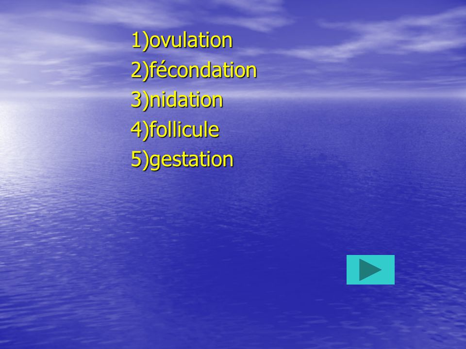 1)ovulation 2)fécondation 3)nidation 4)follicule 5)gestation