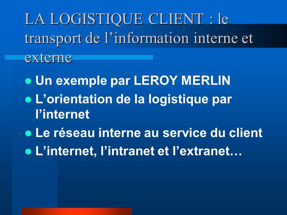 LA LOGISTIQUE CLIENT : le transport de l'information interne et externe