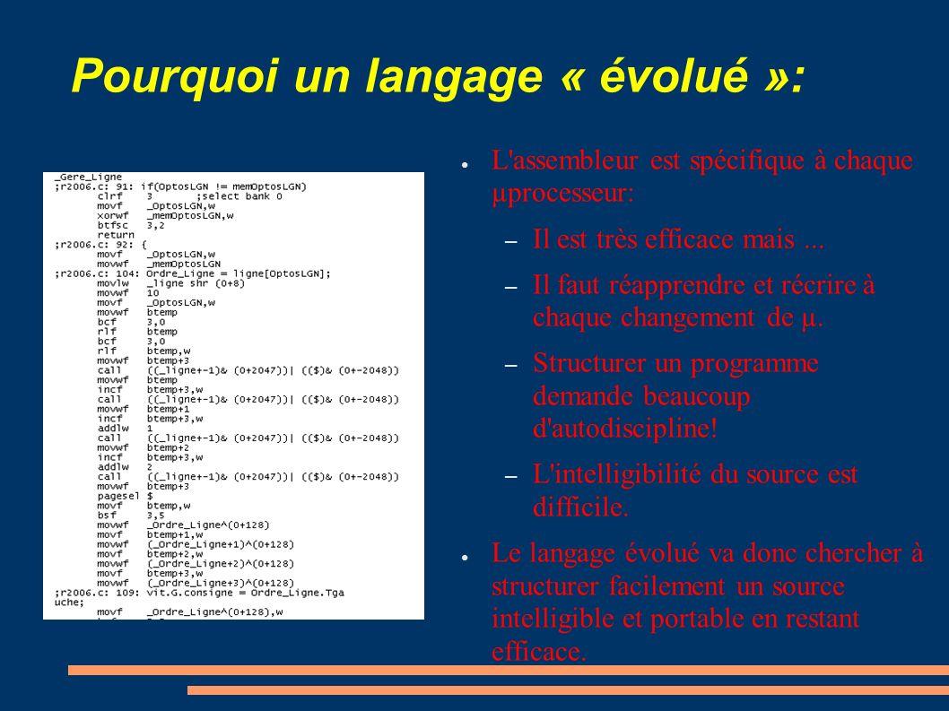 Pourquoi un langage « évolué »:
