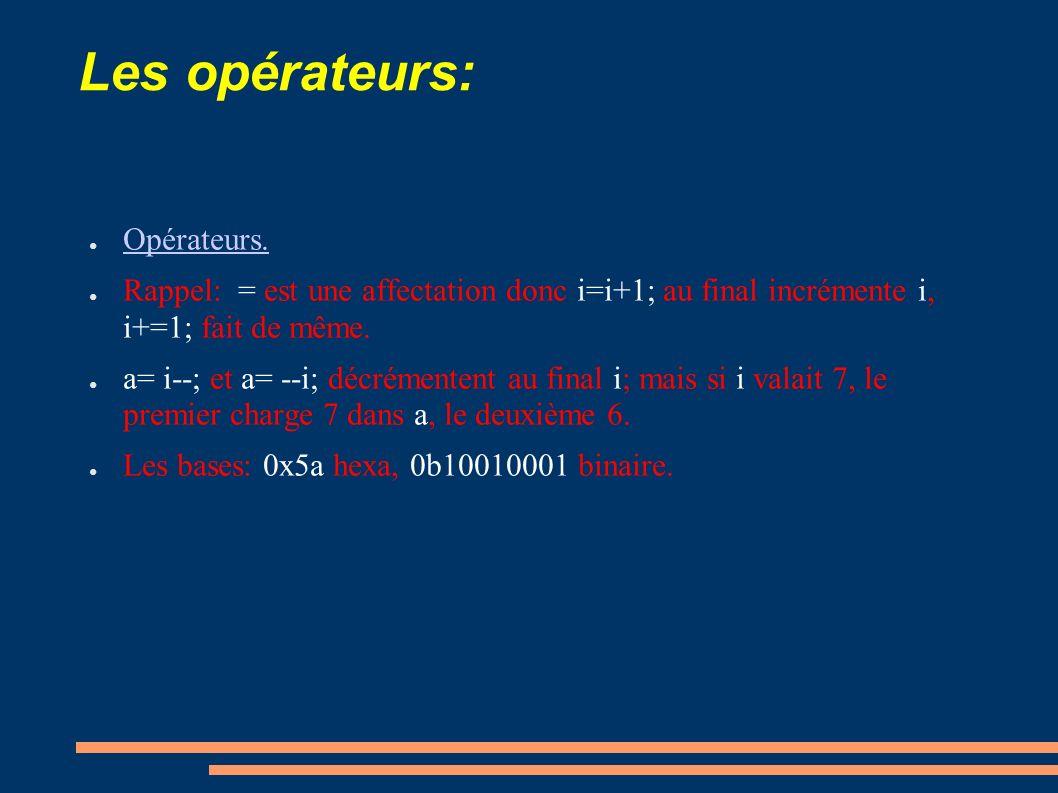 Les opérateurs: Opérateurs.