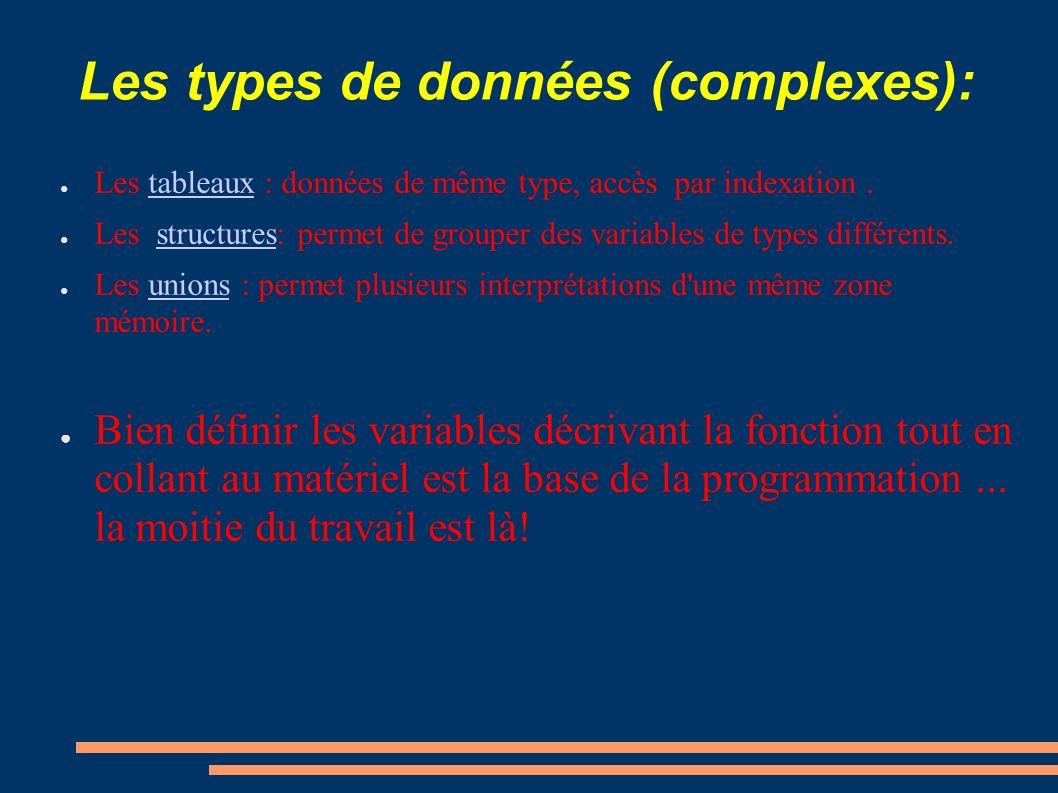 Les types de données (complexes):