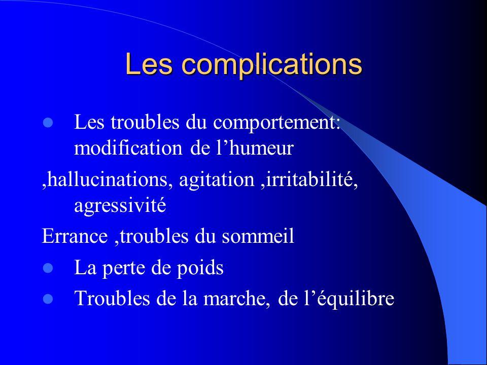 Les complications Les troubles du comportement: modification de l'humeur. ,hallucinations, agitation ,irritabilité, agressivité.