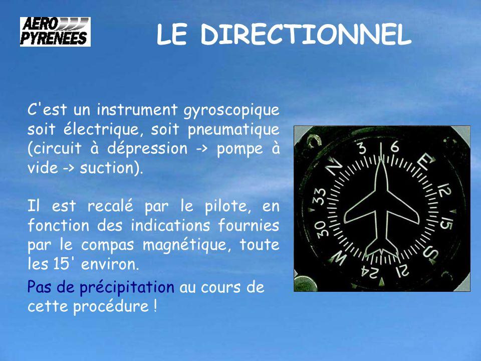 LE DIRECTIONNEL C est un instrument gyroscopique soit électrique, soit pneumatique (circuit à dépression -> pompe à vide -> suction).
