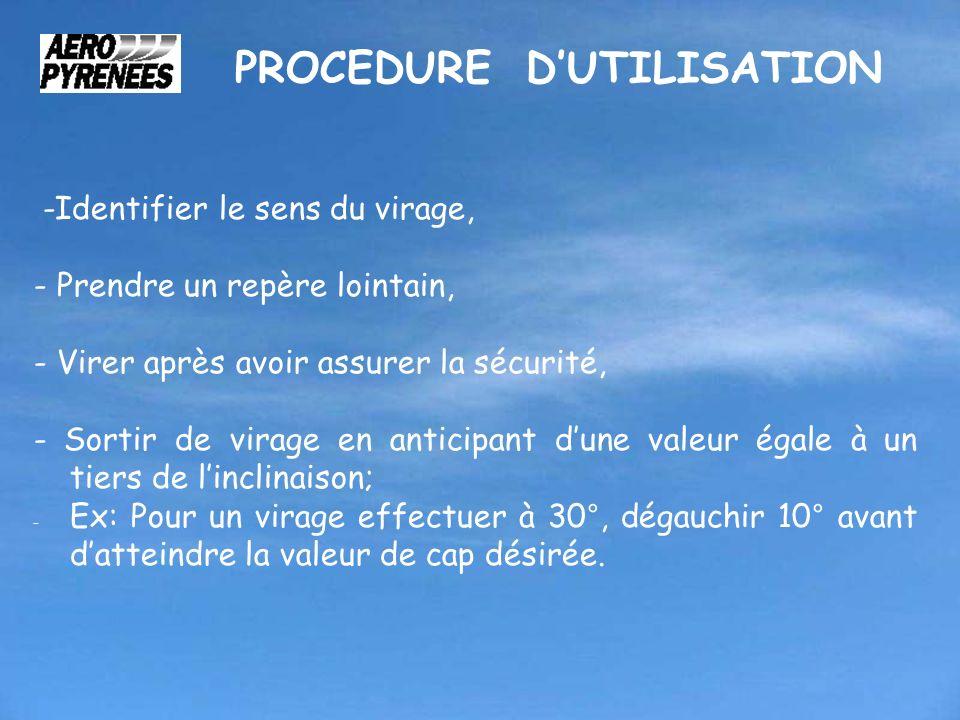PROCEDURE D'UTILISATION