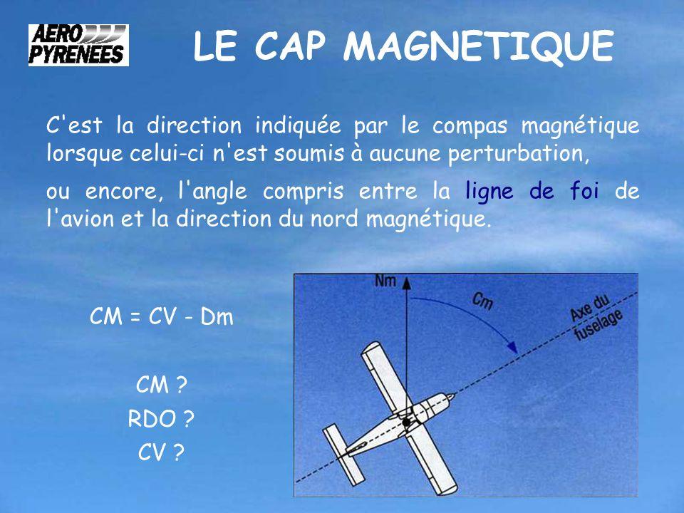 LE CAP MAGNETIQUE C est la direction indiquée par le compas magnétique lorsque celui-ci n est soumis à aucune perturbation,