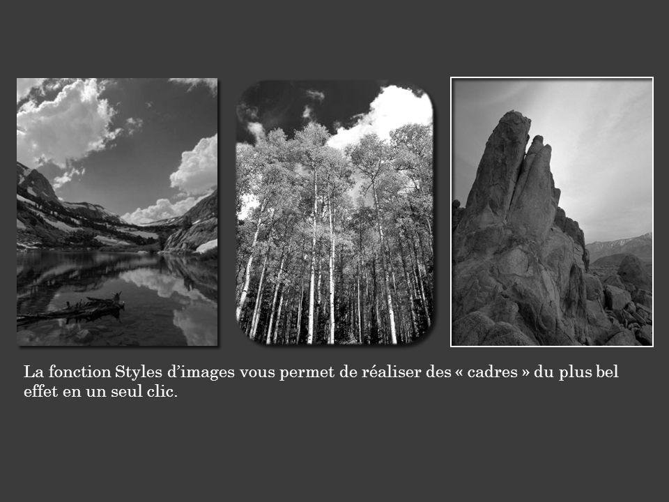 La fonction Styles d'images vous permet de réaliser des « cadres » du plus bel effet en un seul clic.