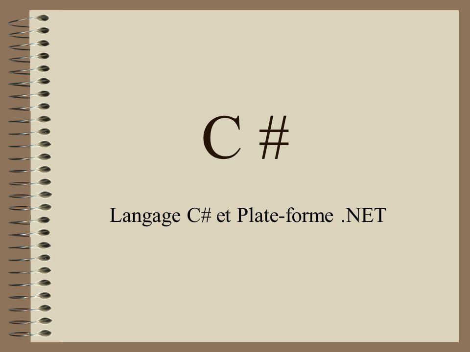 Langage C# et Plate-forme .NET