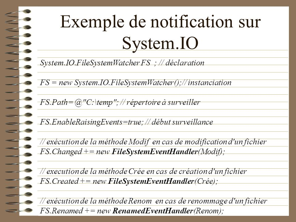 Exemple de notification sur System.IO