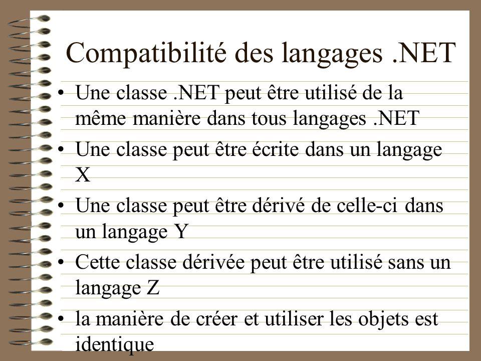 Compatibilité des langages .NET