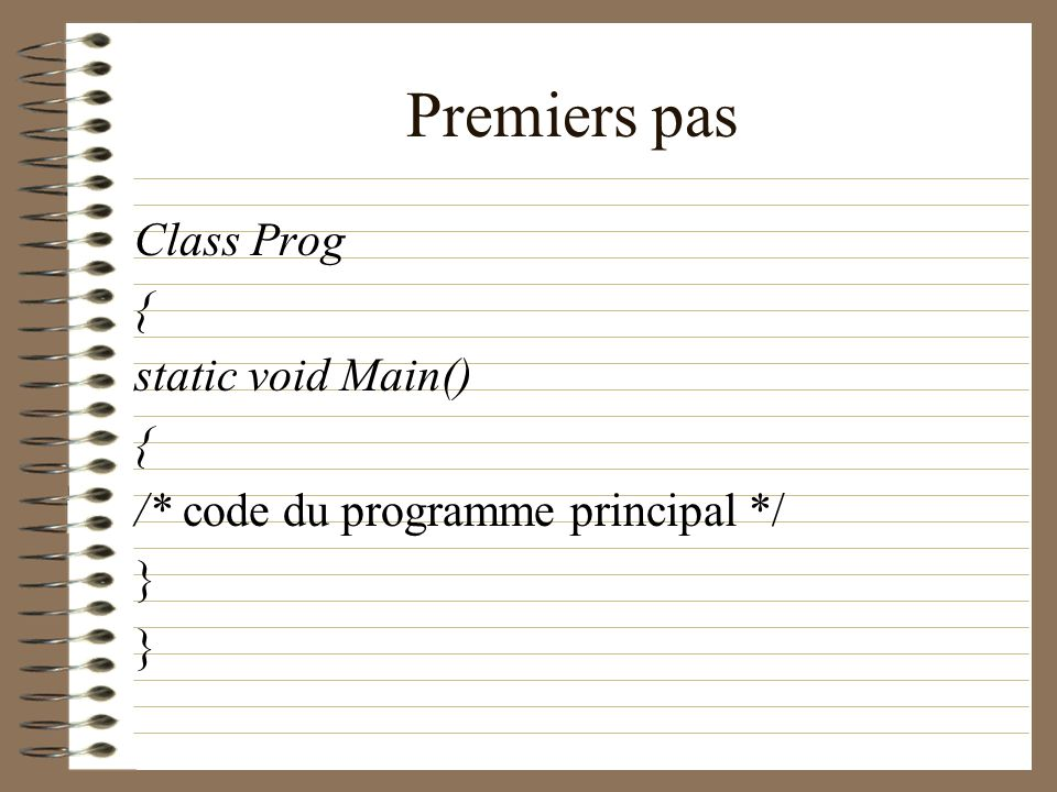 Premiers pas Class Prog { static void Main()
