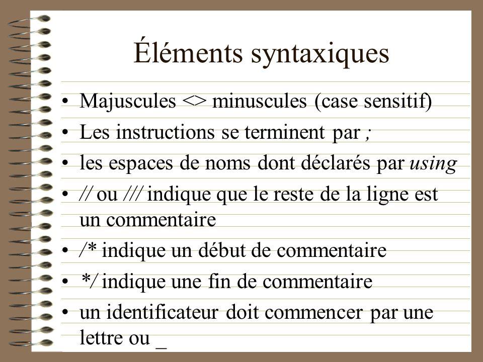 Éléments syntaxiques Majuscules <> minuscules (case sensitif)