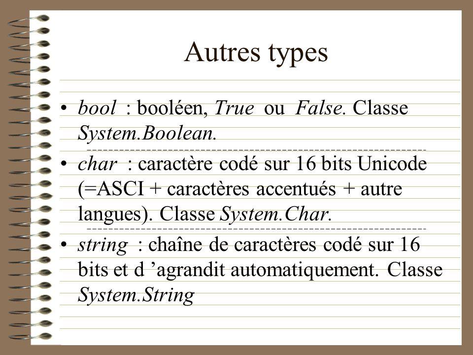 Autres types bool : booléen, True ou False. Classe System.Boolean.
