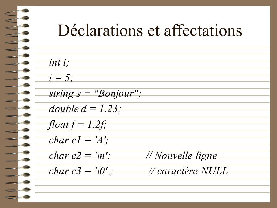 Déclarations et affectations