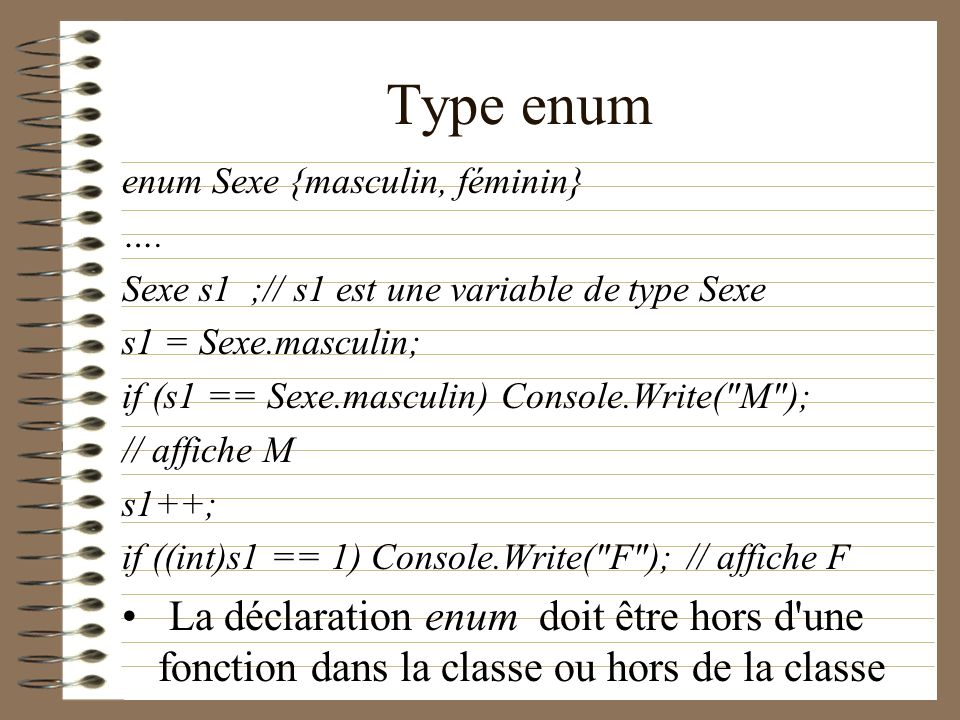 Type enum enum Sexe {masculin, féminin} …. Sexe s1 ;// s1 est une variable de type Sexe. s1 = Sexe.masculin;