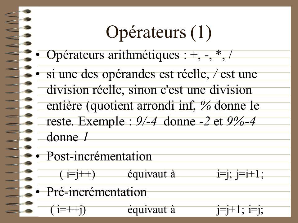 Opérateurs (1) Opérateurs arithmétiques : +, -, *, /