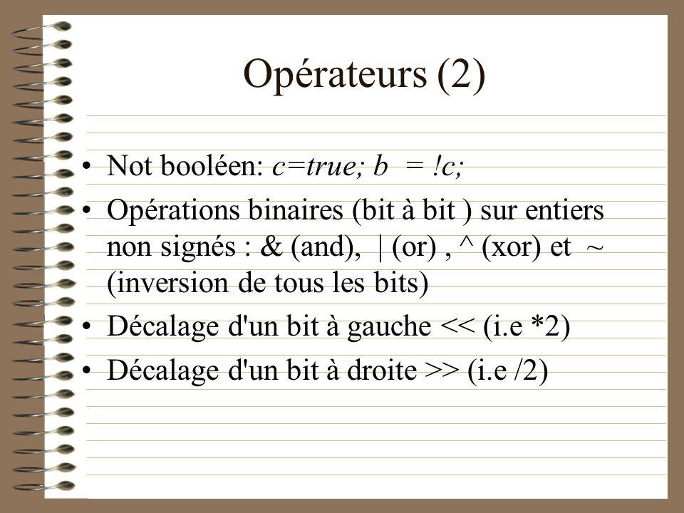 Opérateurs (2) Not booléen: c=true; b = !c;