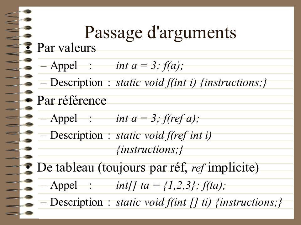 Passage d arguments Par valeurs Par référence