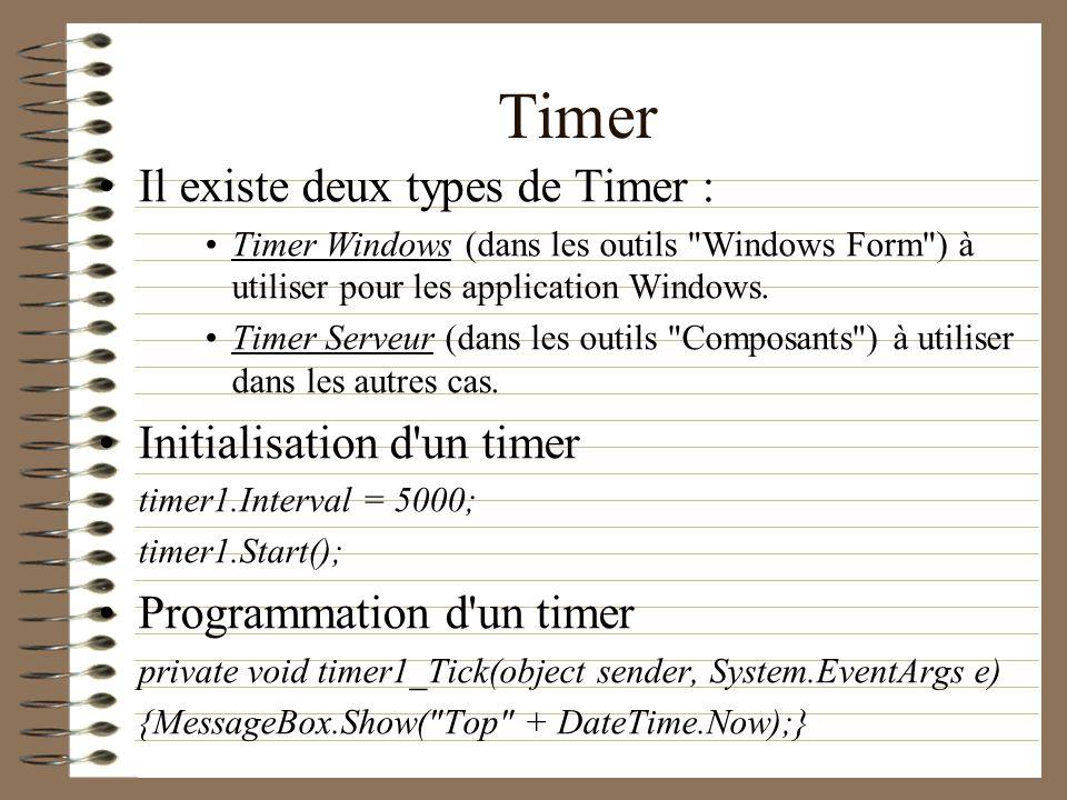 Timer Il existe deux types de Timer : Initialisation d un timer