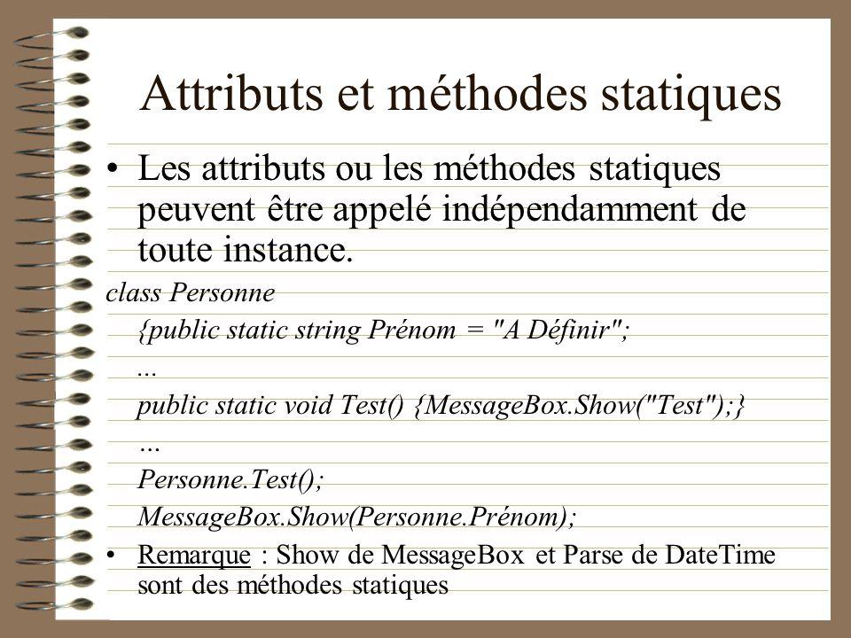Attributs et méthodes statiques