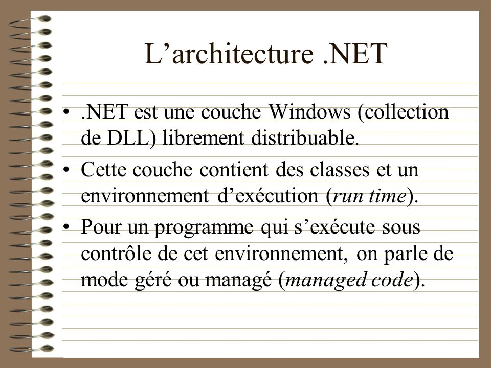 L'architecture .NET .NET est une couche Windows (collection de DLL) librement distribuable.