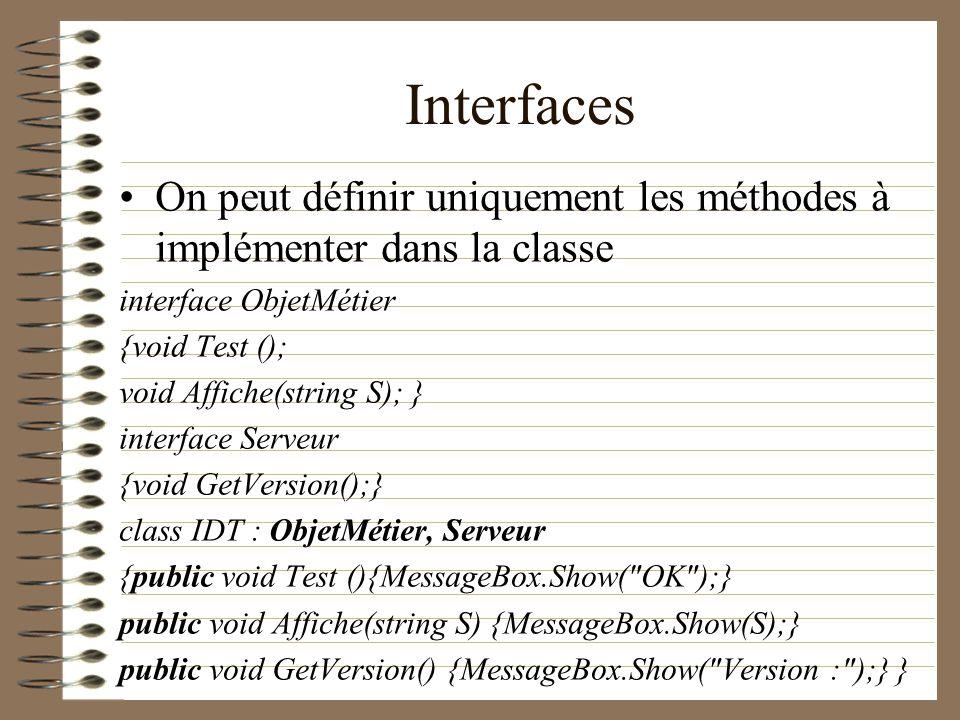 Interfaces On peut définir uniquement les méthodes à implémenter dans la classe. interface ObjetMétier.