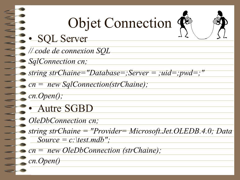 Objet Connection SQL Server Autre SGBD // code de connexion SQL
