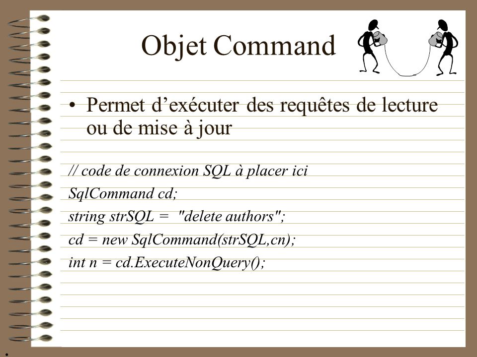 Objet Command Permet d'exécuter des requêtes de lecture ou de mise à jour. // code de connexion SQL à placer ici.