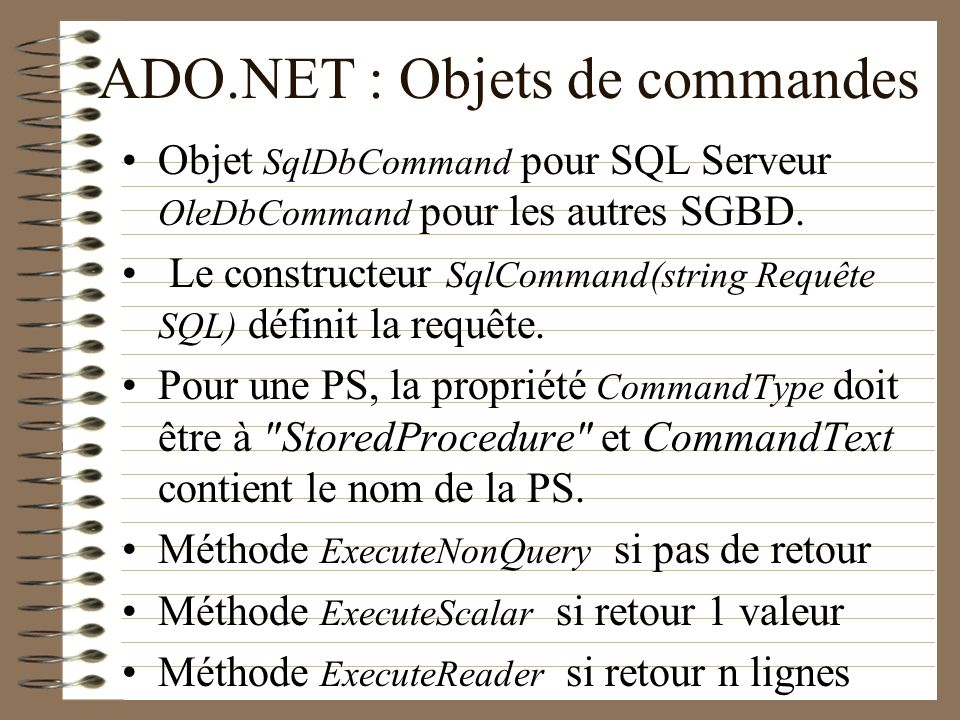 ADO.NET : Objets de commandes