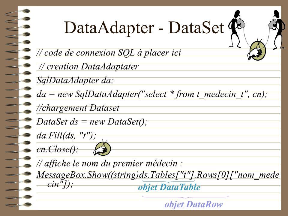 DataAdapter - DataSet // code de connexion SQL à placer ici