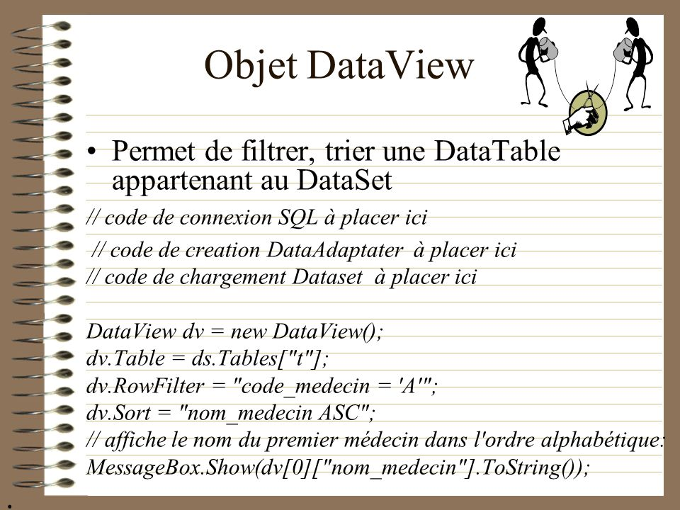Objet DataView Permet de filtrer, trier une DataTable appartenant au DataSet. // code de connexion SQL à placer ici.