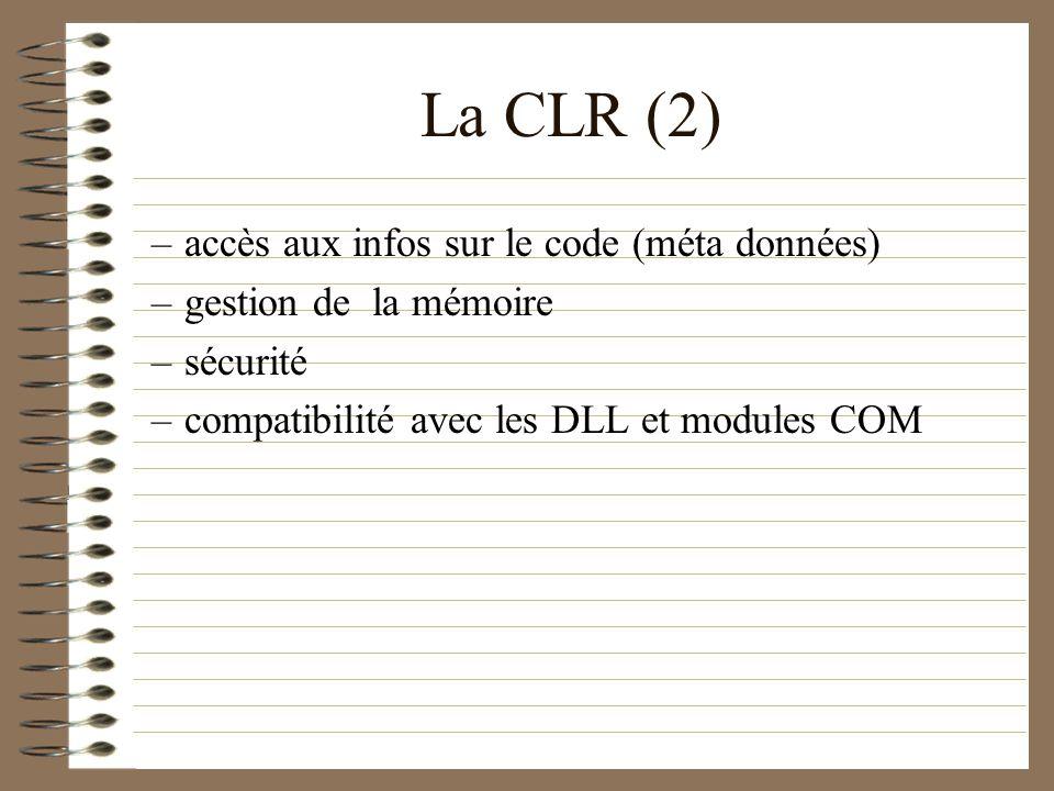 La CLR (2) accès aux infos sur le code (méta données)