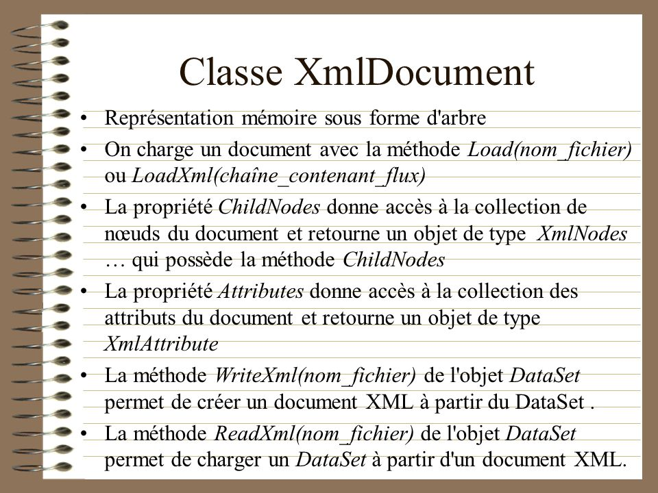 Classe XmlDocument Représentation mémoire sous forme d arbre