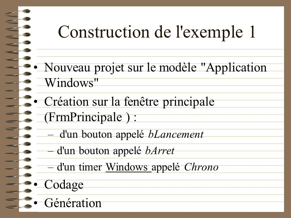 Construction de l exemple 1