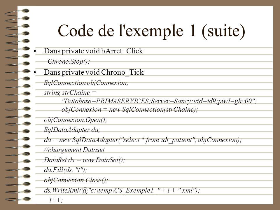 Code de l exemple 1 (suite)