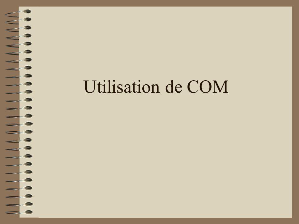 Utilisation de COM