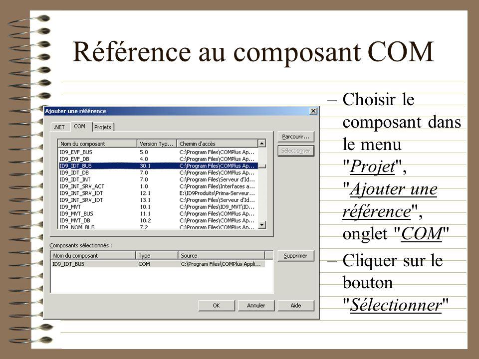 Référence au composant COM