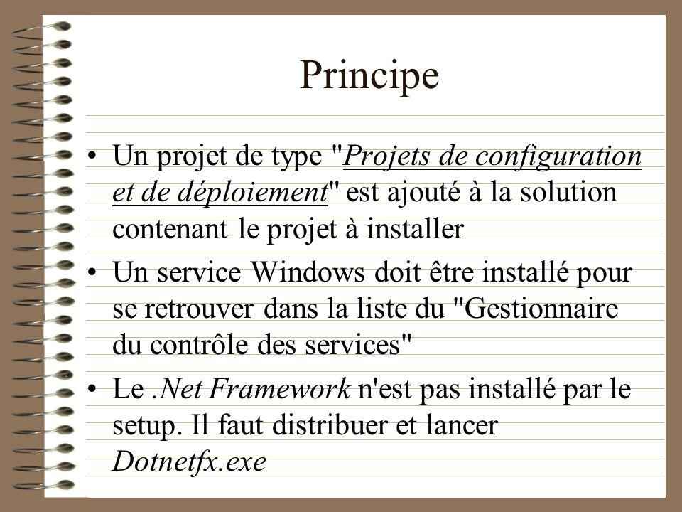 Principe Un projet de type Projets de configuration et de déploiement est ajouté à la solution contenant le projet à installer.