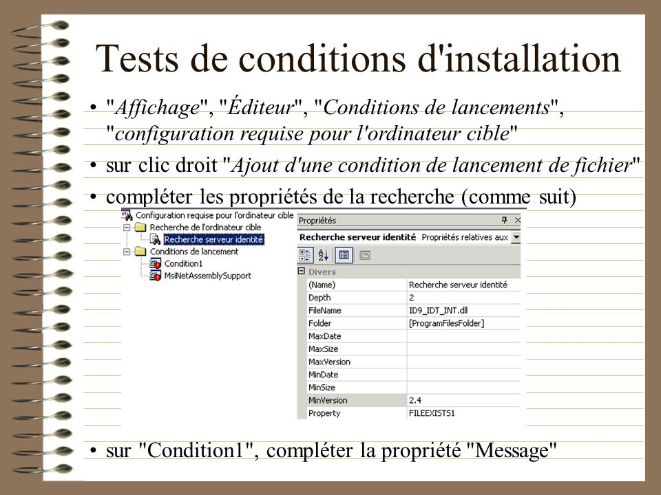 Tests de conditions d installation