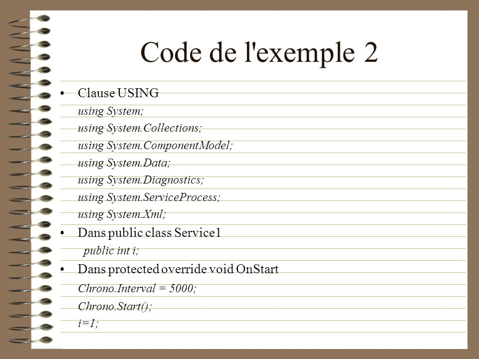 Code de l exemple 2 Clause USING Dans public class Service1