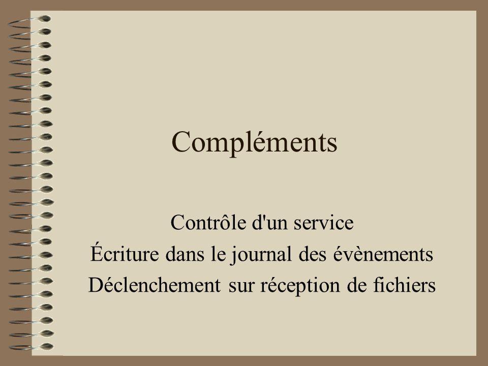 Compléments Contrôle d un service
