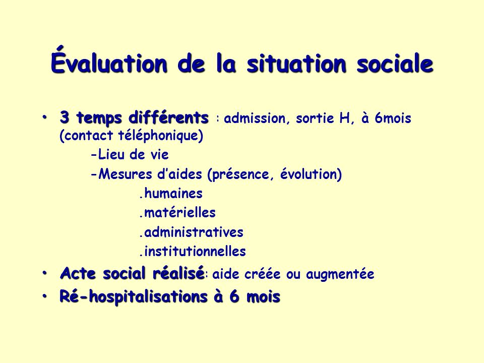 Évaluation de la situation sociale